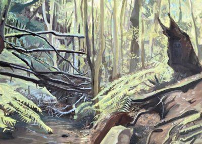 Ölbild El Cedro La Gomera Wald, Flußbett